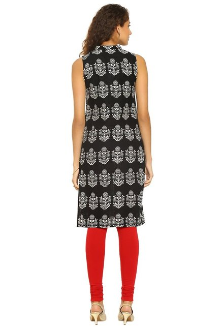 Soch Black Printed Cotton Kurta