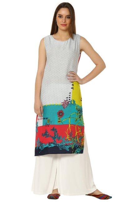 Soch Cream & Green Printed Rayon Kurta