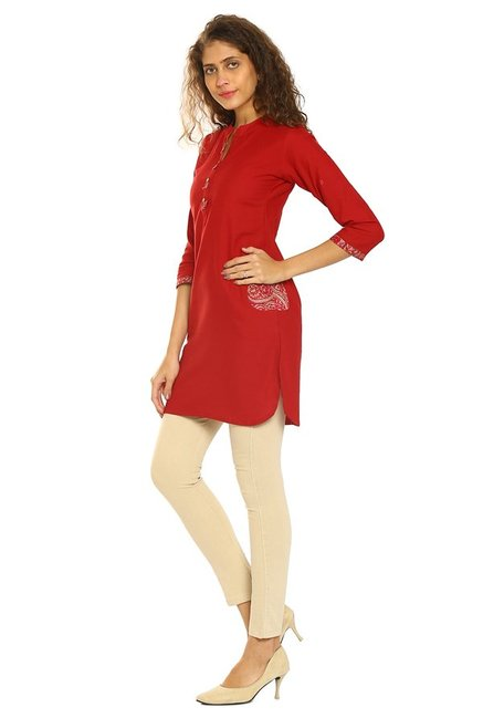 Soch Maroon Regular Fit Cotton Kurti