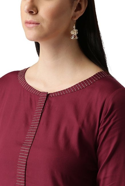 Libas Maroon Regular Fit Cotton Straight Kurta