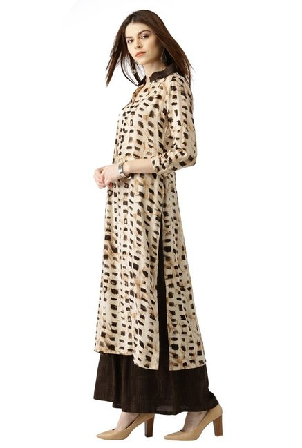Libas Beige & Brown Printed Rayon Kurta With Palazzo