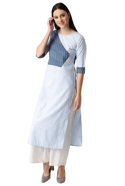 Libas Blue Printed Cotton Straight Kurta