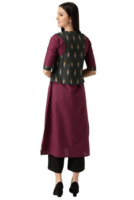 Libas Maroon Cotton A-Line Kurta With Jacket Style