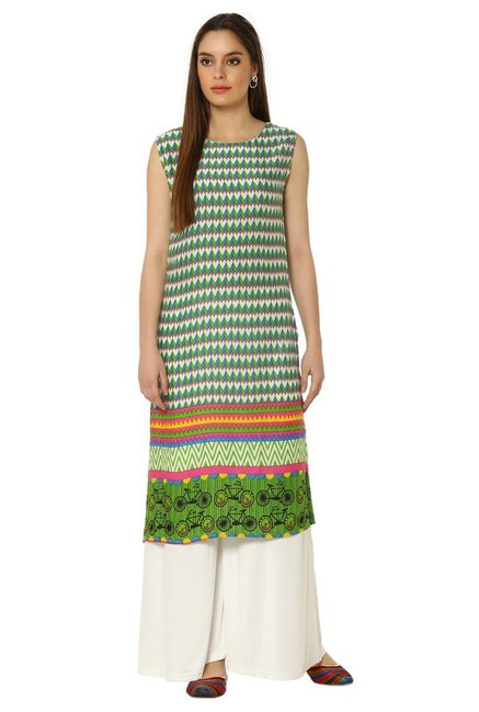 Soch Green & Cream Printed Rayon Kurta