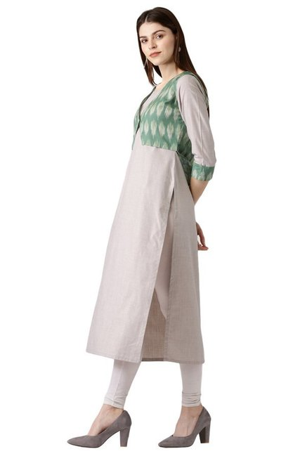 Libas Beige & Green Printed Cotton Kurta With Jacket