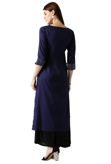 Libas Navy Regular Fit Cotton Straight Kurta