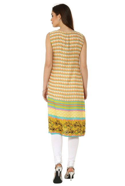 Soch Yellow & Cream Printed Rayon Kurta
