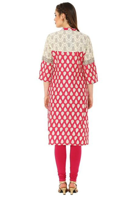 Soch Dark Pink & Cream Printed Cotton Kurta