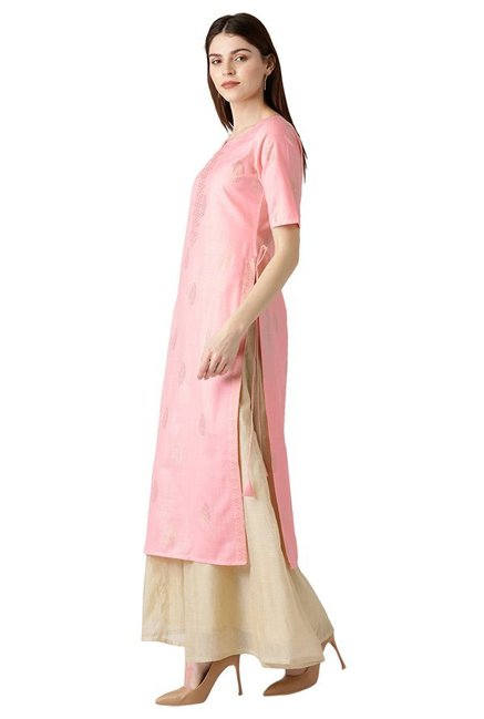 Libas Pink Block Print Cotton Straight Kurta
