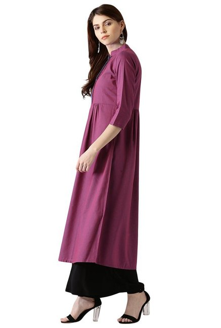 Libas Pink Regular Fit Cotton Anarkali Kurta
