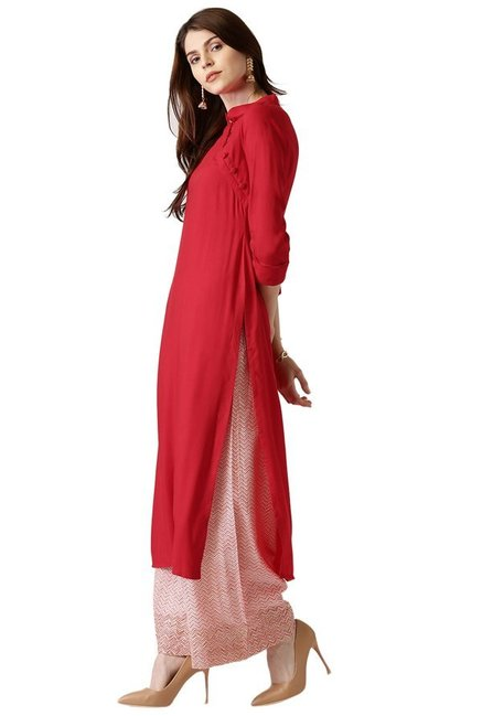 Libas Red Regular Fit Rayon Straight Kurta