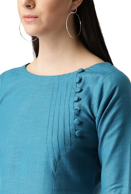 Libas Teal Textured Cotton A-Line Kurta