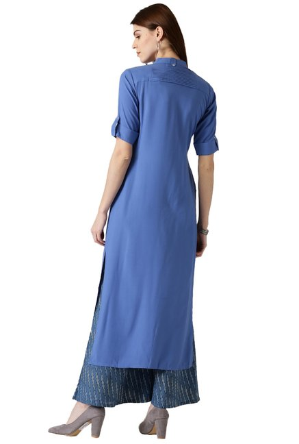 Libas Blue Regular Fit Rayon Straight Kurta