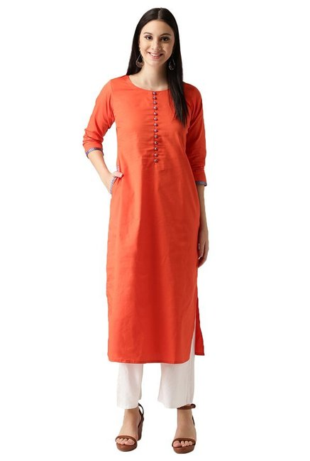 Libas Orange Regular Fit Cotton Straight Kurta