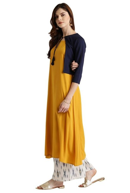 Libas Yellow & Navy Polyester A-Line Kurta With Jacket
