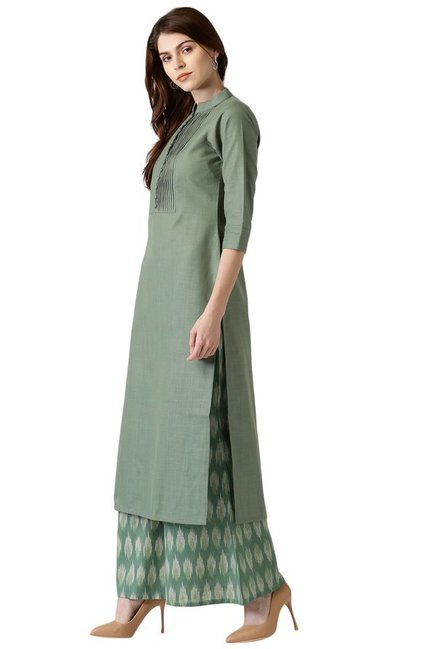 Libas Olive Regular Fit Cotton Straight Kurta