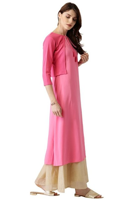 Libas Pink Polyester A-Line Kurta With Jacket