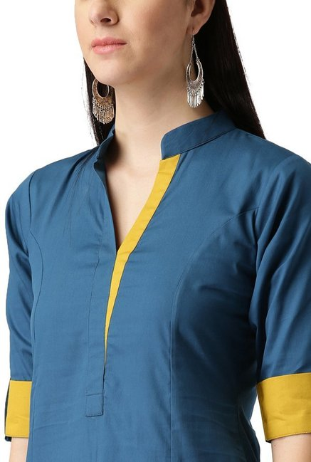 Libas Blue Regular Fit Cotton A-Line Kurta
