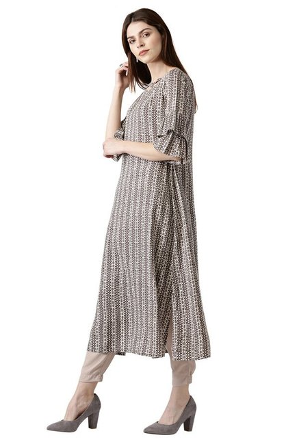 Libas Brown Printed Cotton A-Line Kurta