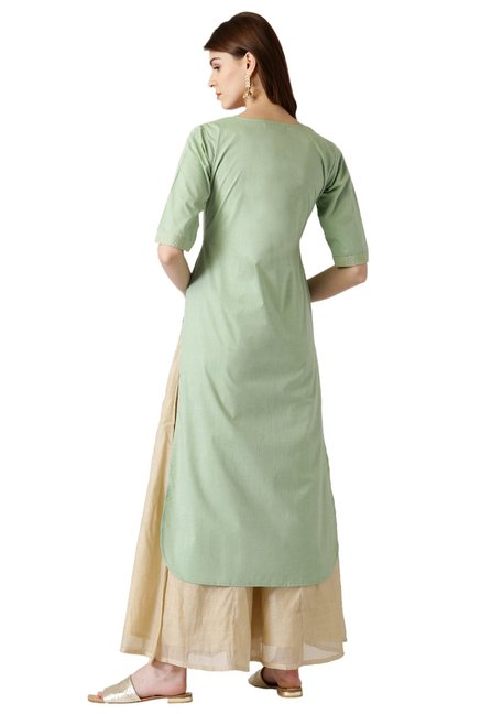 Libas Green Regular Fit Cotton Pathani Kurta