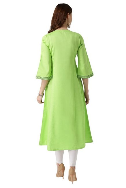 Libas Lime Regular Fit Cotton A-Line Kurta