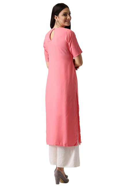 Libas Pink Regular Fit Rayon Straight Kurta