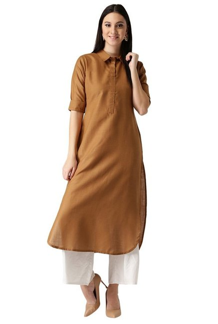 Libas Brown Regular Fit Cotton Pathani Kurta