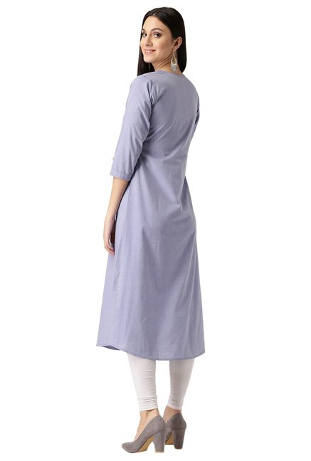 Libas Purple Regular Fit Cotton A-Line Kurta