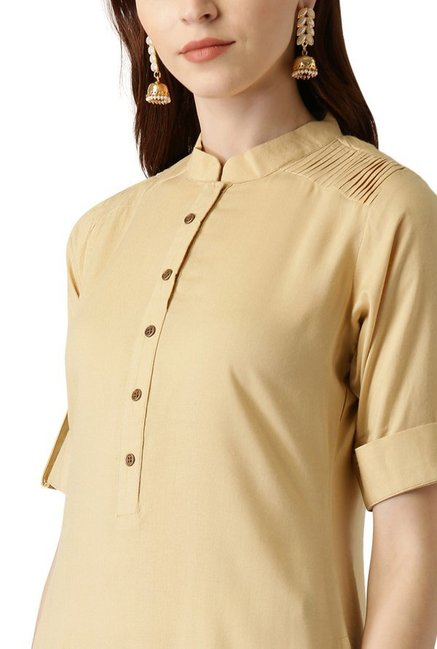 Libas Beige Regular Fit Rayon Straight Kurta