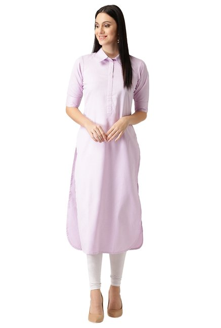 Libas Purple Checks Polyester Pathani Kurta