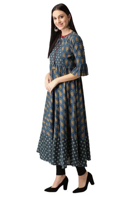 da3ca476d04 Buy Libas Navy Paisley Print Cotton Anarkali Kurta for Women Online ...