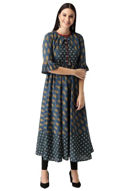 8a357d6a82d Buy Libas Navy Paisley Print Cotton Anarkali Kurta for Women Online   Tata  CLiQ