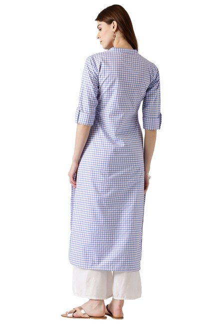 Libas Blue & White Checks Cotton Straight Kurta