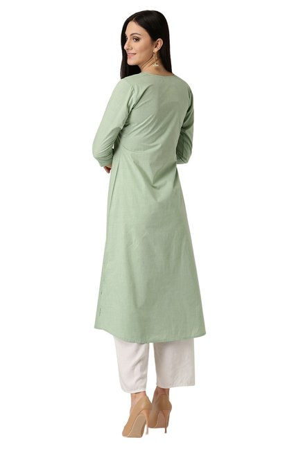 Libas Green Regular Fit Cotton A-Line Kurta
