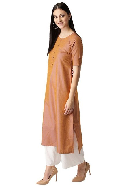 Libas Rust Printed Cotton A-Line Kurta