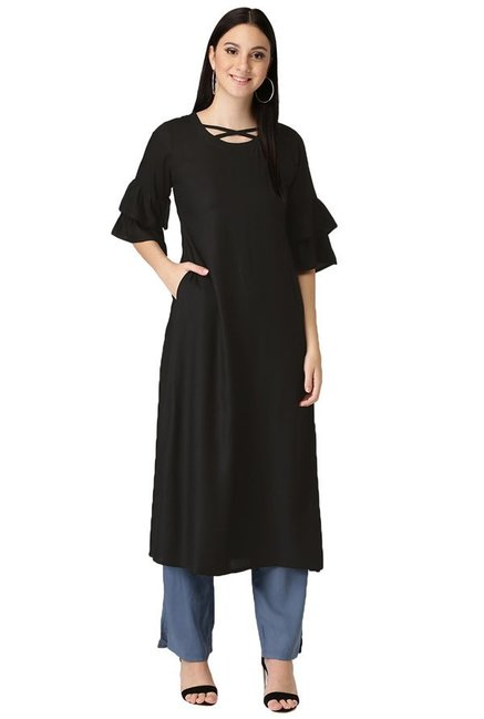 Libas Black Regular Fit Rayon A-Line Kurta