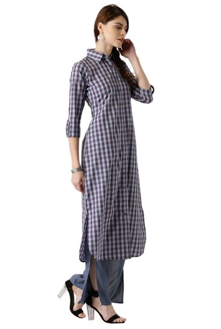 Libas Blue & Red Checks Cotton Pathani Kurta