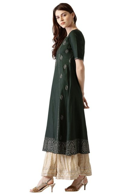 Libas Green Block Print Cotton A-Line Kurta