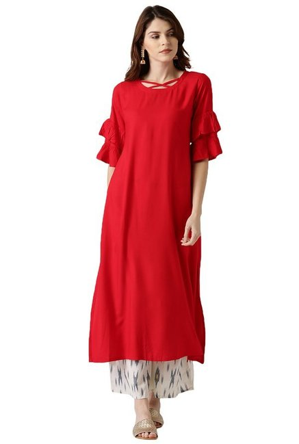 Libas Red Regular Fit Rayon A-Line Kurta