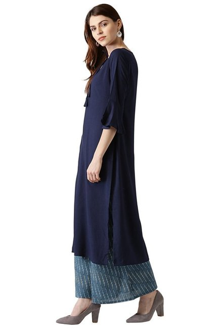 Libas Navy Regular Fit Rayon Straight Kurta