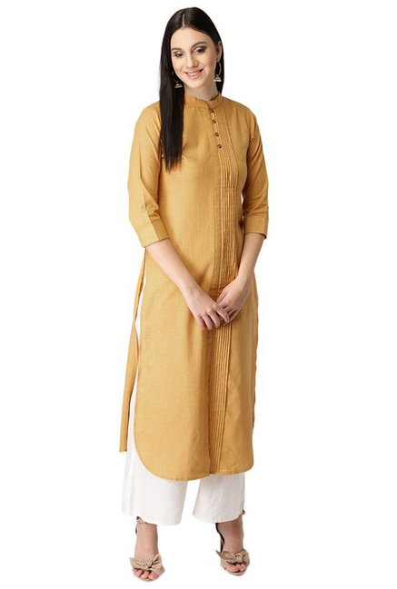 Libas Yellow Regular Fit Cotton Pathani Kurta