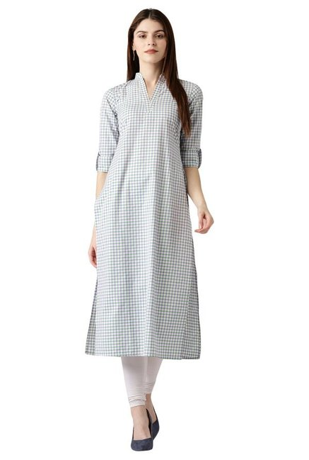 Libas Off White Checks Cotton Straight Kurta