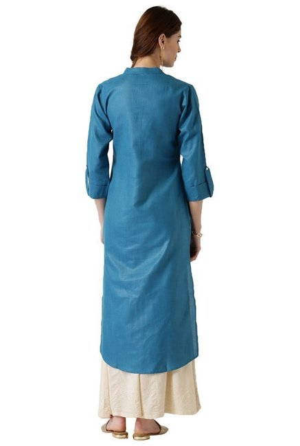 Libas Teal Textured Cotton Straight Kurta