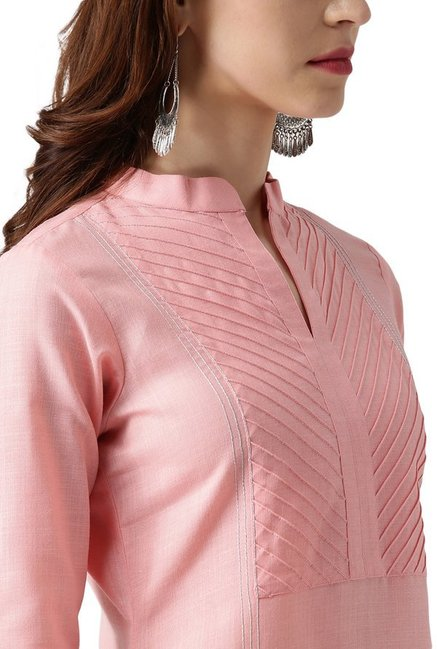 Libas Pink Textured Cotton Straight Kurta