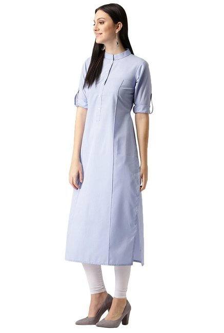 Libas Blue Regular Fit Polyester Straight Kurta