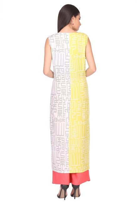 W Lime Printed Viscose Kurta