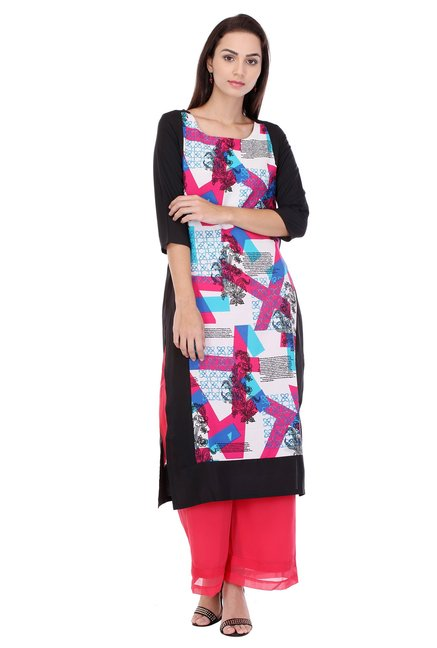 W Multicolor Printed Cotton Kurta
