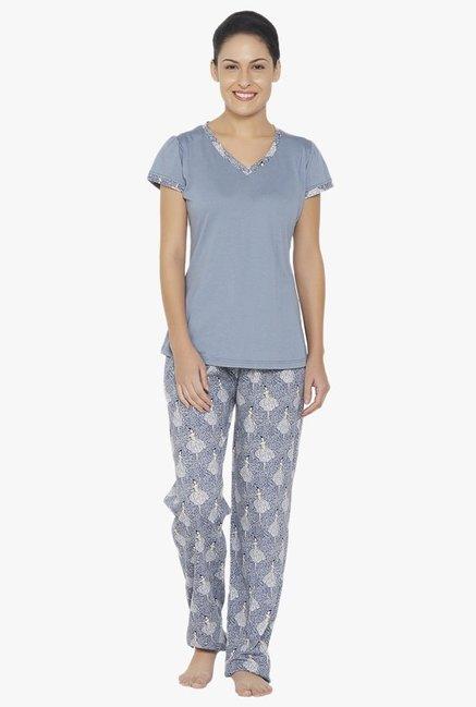 dc88acdd2 Buy Libertina Blue Cotton Modal Pyjama Set for Women Online @ Tata CLiQ