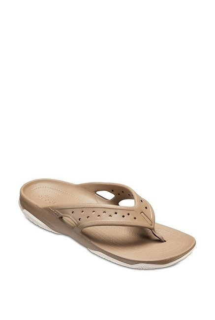 71df2ad9aedc Buy Crocs Swiftwater Deck Khaki Thong Sandals for Men at Best Price   Tata  CLiQ