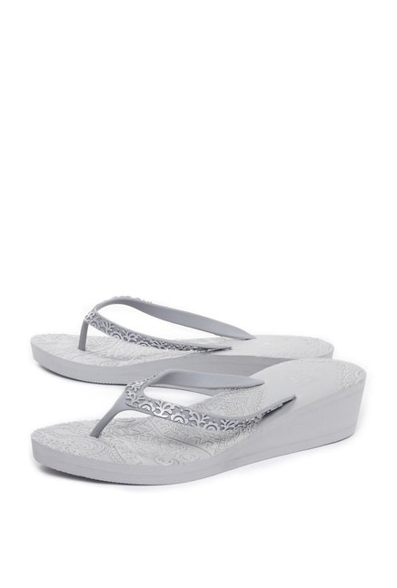 bf78cfebf8b6 Buy Head Over Heels by Westside Silver Wedge Flip-Flops For ...